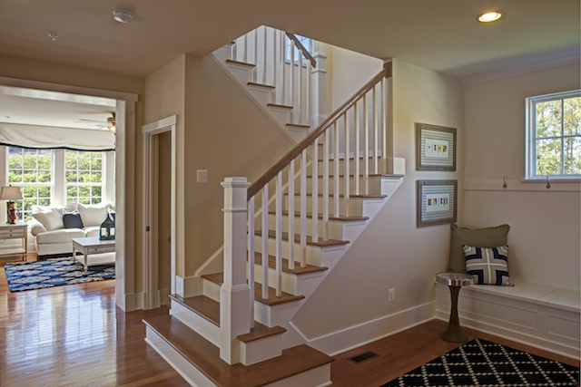 Stair runs and landings can be configured to provide a comfortable place to rest between floors. Photo Credit: Allen Kennedy Photography